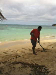 Fijian-man-grooming-beach